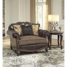 Leather Tufted Chair And Ottoman by Traditional Chair And A Half U0026 Ottoman By Signature Design By