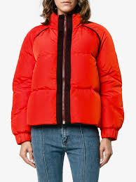 Text Decoration Underline Padding by Ganni Fountain Contrast Trim Puffer Coat Padded Red Winter Coats