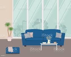 wohnzimmer mit blauem sofa und kissen stock vektor und mehr bilder behaglich