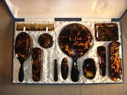 Celluloid Vanity Dresser Set by Tortoise Shell Vanity Set Case Box 11 Pieces From Dutch Antiques