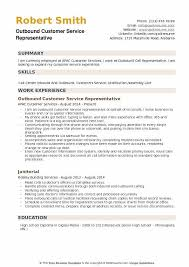 Outbound Customer Service Representative Resume Example