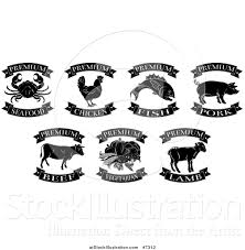 Vector Illustration of Black and White Premium Chicken Beef Pork Lamb Fish