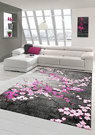 designer teppich moderner teppich wohnzimmer teppich blumenmuster grau lila pink weiss rosa größe 60x110 cm
