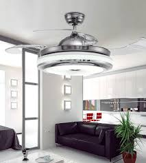 Invisible Retractable Blades Chrome Ceiling Fan 42 Inch Modern Simple Chandelier With Lights For Living Room Bedroom Home Light