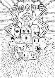Coloring Page Adult Doodle Lot Of Characteres By Allan