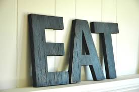 Eat Letters Kitchen Decor Via Wall Art Distressed Wood
