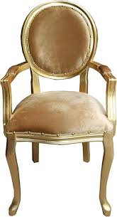 casa padrino barock esszimmer medaillon stuhl mit armlehnen gold samtstoff gold
