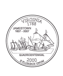 Virginia State Quarter Coloring Page