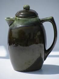 Vintage Pfaltzgraff Pottery Green Drip Gourmet Stoneware Coffee Pot