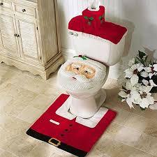 kobwa weihnachtsdekoration badezimmer dekoration weihnachtstoilettensitzabdeckung und teppich paper box cover badezimmer set
