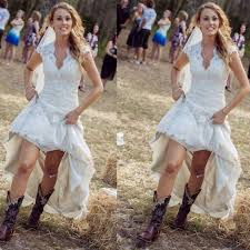 Vintage High Low Rustic Wedding Dresses Cheap Sexy V Neck Cap Sleeve 2016 Plus Size