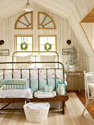 Bedroom Retro Attic Decor With Iron Bed Frame And Wooden Bench Furniture Beside White