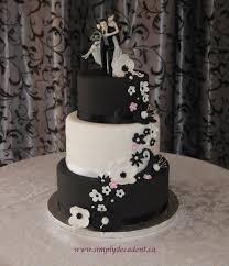 3 Tier Black Amp White Fondant Wedding Cake With Black White Amp Pink Fondant Flowers And