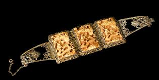Pai Gow Tiles Set by Antique Chinese Silver Gilt Wedding Bracelet With Carved Pai Gow