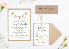 Burlap Bunting With Polka Dots Wedding Invitation Bundle