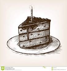 Cake Pencil Sketch Piece Cake And Candle Hand Drawn Sketch Vector Stock Vector
