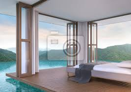 pool villa schlafzimmer mit blick auf die berge 3d rendering poster myloview