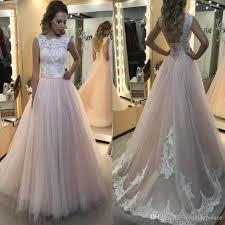 Discount Hot Sale Lace Tulle Beach A Line Wedding Dresses Appliques