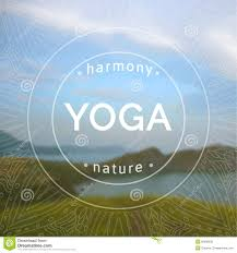 Vector Yoga Illustration Name Of Studio On A Blurred Sea Background Royalty Free