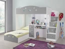 bureau superposé lit superposé avec rangements et bureau 90x190cm combal gris blanc