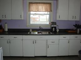 Purple Background Color With White Retro Metal Kitchen Cabinets