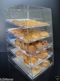Acrylic Pastry Bakery Donut Bagels Cookie Display Case With Trays