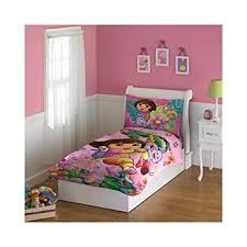 amazon com dora the explorer 4 piece toddler bedding set home
