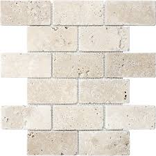 shop anatolia tile chiaro tumbled mosaic travertine wall tile