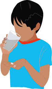 Boy drinking medicine