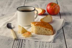 Piece Of Apple Pie In Rustic Style On The Wooden Table Stock Photo