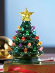 Interior Mini Ceramic Christmas Tree Small Holiday Nightlight Quirky With Lights Prodigous 3