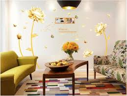 Golden Flower 3d Wall Sticker Home Decor Beauty Tulip Decal For Living Room Wallpaper