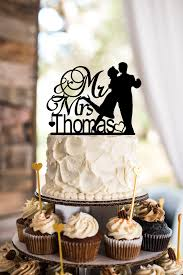 Custom Rustic Wedding Cake Topper Mr And Mrs Silhouette