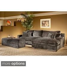 doris 3 piece smoke sectional sofa with storage ottoman home