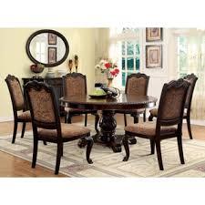 furniture of america oskarre iii brown cherry 7 piece formal round