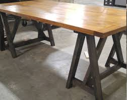 Rustic Desk Industrial Loft Style Take Sawhorse Wood Kitchen Table