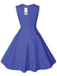 Audrey Hepburn Style Polka Dot Printed Dress Retro 50s Sleeveless Swing Vintage Inspired Party Midi