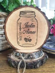 Mason Jar Wedding Cake Topper Rustic Engraved Wood Slice Custom Country Barn