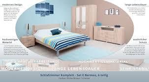 schlafzimmer komplett set e bermeo 6 teilig farbe eiche braun creme