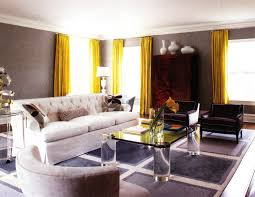 living room yellow curtain in modern with grey wall paint