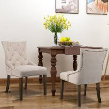 Set Of 2Dining Chairs Button Tufted Beige Pattern Fabric Dining Room ...