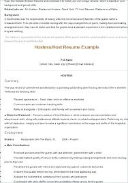 Waitress Resume Objectives Example For Objective