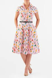 Our Pineapple Print Cotton Shirtdress Is Cinched In At The Seamed Waist With A Contrast Faux