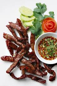 je de cuisine de fried sun dried beef with dried chilli dipping sauce from lers ros