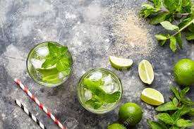 Mojito Cocktail Cuban Alcohol Drink Top View Copy Space In Highball Glass Summer Tropical Vacation