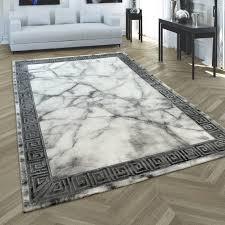 teppich 3 d bordüre marmor effekt grau silber