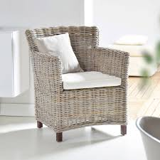 Room Armchairs Unique Kubu Outdoor Rattan For Garden Brown Square Wooden Piping Legs White Cushion