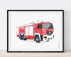 Fire Truck Print, Fire Truck Wall Art, Play Room Decor, Fire Engine ...