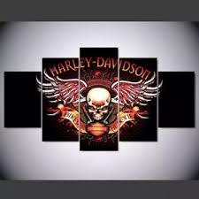 Image Is Loading Large Harley Davidson Engine Skulls Canvas Wall Print