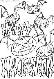 Bats Pumpkin Headed Halloween Coloring Pages For Kids Printable